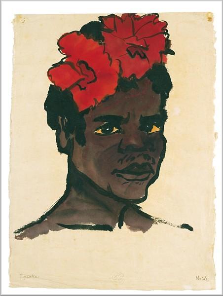 Emile Nolde, Jupuallo, 1914. Acuarela y tinta.47x34cm. Nolde Stiftung Seebull. Nolde se unió a la expedición alemana del protectorado Nueva Guinea para trabajar como etnógrafo e investigó sobre las características raciales de nativos.