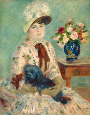 La srta. Charlotte Berthier 1883. Óleo sobre lienzo.92x73cm.Washington D.C.National Gallery of Art.En todas las fases de su carrera Renoir es pintor universal,aborda todos los temas,desnudos,paisaje,retratos.Formado en la tradición académica.