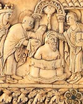 Bautismo de Clodoveo en Navidad 496, el rey de los francos se convierte al cristianismo en la batalla de Tolbiac. Fue bautizado por el obispo de Reims , Rémi, al morir, sus resto son motivo de peregrinación.
