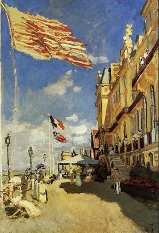 Claude Monet.Hôtel des Roches Noires,Trouville 1870.´´Oleo sobre lienzo,81x58cm.Muse d´´ Orsay.Paris.Una linea diagonal divide el espacio,tensi´´on tridimensional con fuerte sensacion de profundidad,en el poste a la izq,la bandera