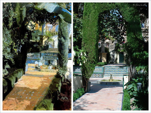 Izquierda cuadro de Sorolla, Patio de las Danzas. Alcázar de Sevilla,1910.Óleo sobre lienzo.95x63cm.Paul Getty Museum.A la derecha fotografía actual del Patio en Sevilla.