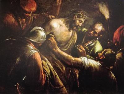 Jacopo Bassano. Cristo de la Corona de espinas 1590. Óleo sobre lienzo,107x138cm,Oxforf. Adopta la definición non-finito en su vertiente estilístico-semántica.