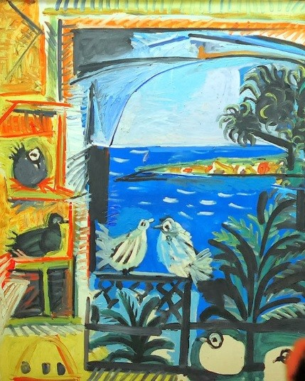 Los pichones, Cannes,12 sept 1957.Óleo sobre lienzo.100x80cm.Museo Picasso, Barcelona,España.Donación Pablo Picasso.