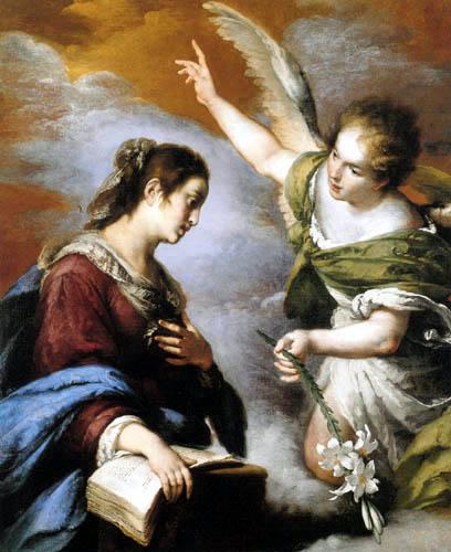 """Bernardo Strozzi,La Anunciación 1640.Un ángel arrodillado en una nube trasciende la delicada mirada de María ensimismada en la lectura inclina la cabeza """"He aquí la esclava del SeñorLc 1, 35. Lo expresa en términos visuales una pincelada ágil."""