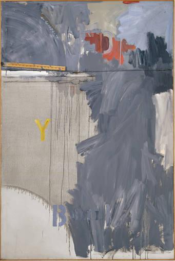 """Jasper Johns.Desde la ventana N2.1962. Símbolos, como letras, números y dianas, aparecen recurrentemente en sus pinturas y grabados. Realizó numerosas pinturas """"grises"""", las que comenzaba con color para finalmente cubrir todo el lienzo con gris."""
