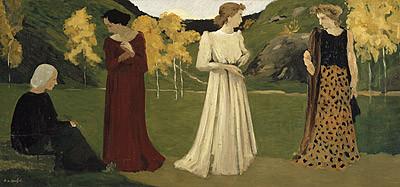 Ker-Xavier Roussel, Les Saisons de la vie,1892-95 Curiosa secuencia en las edades de la vida, protagonizada por mujeres, silenciosas, matizada armonia de color,este el misterio de la vida y la inescrutable vida interior...