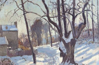 Chemin des Creux.Louveciennes 1872.Pisarro.Camino en cuesta fascinante y desconcertante.Cruce de líneas en esta composición desequilibrada con nieve y fuertes desniveles.