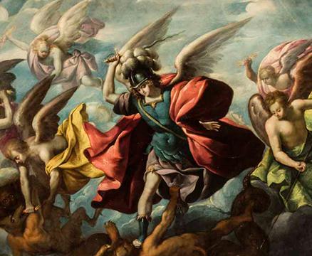 Sebastian López de Arteaga,La caída de los ángeles rebeldes,Méjico 1650. Exportó de Sevilla al Nuevo Mundo el estilo naturalista-tenebrista de la pintura barroca de Caravaggio.San Miguel vence a los ángeles rebeldes,sobre una base de ocre azul.