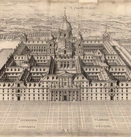 Séptimo diseño con perspectiva general del edificio, 1587.Pedro Peret.Grabado calcográfico,Patrimonio Nacional.Palacio Real de Madrid, Real Biblioteca.