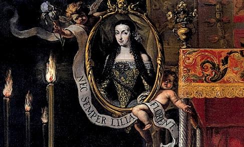 """Detalle: Maria Luisa pidió ser enterrada con el hábito del Carmelo.Incluye una filacteria en latín """"Nec semper liliam florent"""" No siempre los lirios florecen, en alusión a su nula descendencia."""