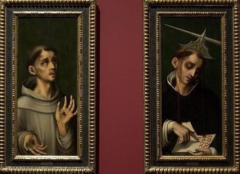 """Luis de Morales.San Francisco de Asis y S Pedro de Verona,1575..Uno de los pintores """"el divino"""" más valorados del SXVI en España,toda una evocación mística que sufrieron ambos en propia carne el sacrificio,pincelada minuciosa,sfumato leonardesco."""