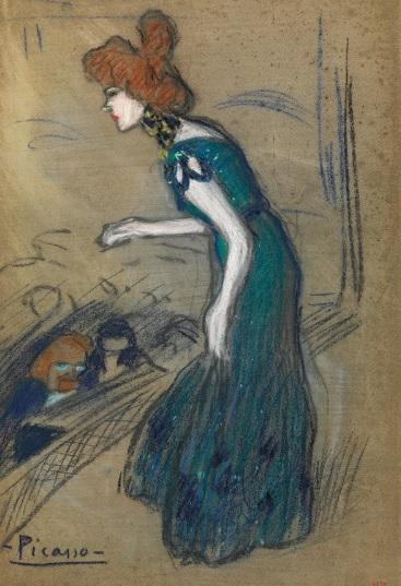"""Picasso. La """"diseuse"""" 1901..Carboncillo y papel sobre cartón. 47x30cm. Museo Picasso.Barcelona."""