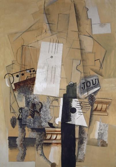 Pablo Picasso.El velador,1913-14.Todo un icono mundial del arte contemporáneo, a partir del cubismo y su nueva concepción del espacio, rompe los esquemas de la pintura europea.