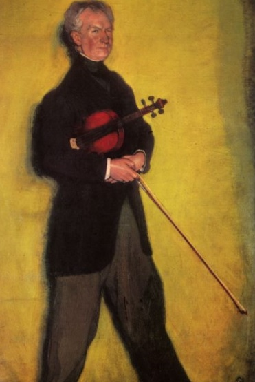 Ignacio Zuloaga. Retrato del violinista Larrapidi 1910. Óleo sobre lienzo.184x111cm. Museo Nacional de Arte Reina Sofía.Madrid. La introspección psicológica del personaje retratado es evidente.