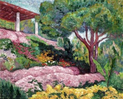 Carlos Reymond.La Pérgola 1910.Óleo sobre lienzo.60x73cm.Colección particular.Francia.