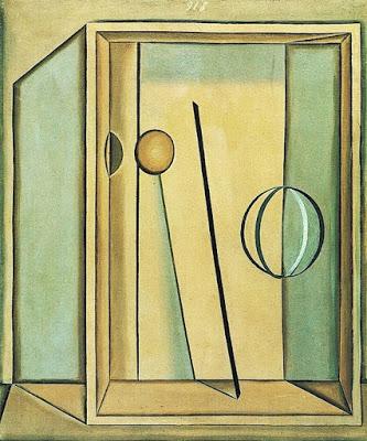 """Giorgio Morandi.Natura morta con palla.1918.Museo del Novecento.Milan.El tema """"cuadro dentro del cuadro"""" con caja y objetos emblemáticos compuesta durante su breve fase metafísica,bodegón geométrico."""