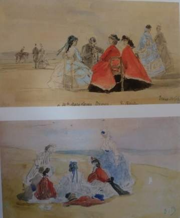 Arriba:Eugène Boudin.Trouville,miriñaques en la playa1866.Acuarela sobre papel.Colecci´´on privada.Abajo: Miriñaques en el acantilado 1866,acuarela sobre papel.Coleccion privada.
