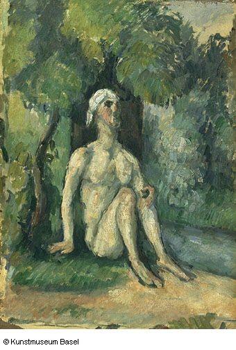 Cézanne.El bañista a la orilla del agua.Pintor postimpresionista,se inscribió en la Academia Suiza,trabajaba con modelos al natural.Descubre a Caravaggio y Velazquez,en Auvers conoce a Pisarro,figuras geométricas.