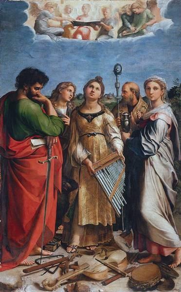 Santa Cecilia.Óleo sobre tabla transferido a lienzo.238cm x155cm. Bolonia, Pinacoteca Nacional.