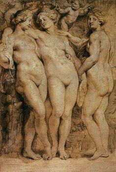Las Tres Gracias 1630.Monocromo para ser esculpido por George Petel que trabajaba en marfil.Las compañeras d Venus encarnaban la belleza,la elegancia y la buena fortuna.
