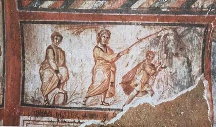 """Moisés hace brotar el agua de la roca. Fresco de la Catacumba de San Calixto, Roma. Este es uno de los episodios del Antiguo Testamento mas representado por el arte paleocristiano. Su simbolismo está en San Pablo:""""La Roca era Cristo""""."""