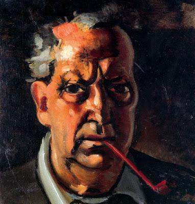 André Derain.Autorretrato con pipa,1953.Con un fondo oscuro como si del foco de una comedia dramática se tratara aparece recortada la cara del autor que se interpela la desesperanza, los miedos y dudas...