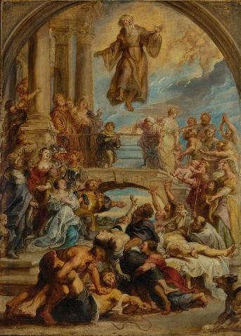 Los milagros de San Fco de Paula.1627.Rubens ejecuta gran formato de óleo sobre tabla,110x79cm guardado en el Paul Getty Museum,Los Angeles.El punto focal de esta dramática escena es el santo fundador de los Mínimos.La princesa Ana (Luis XVI) esterilidad.