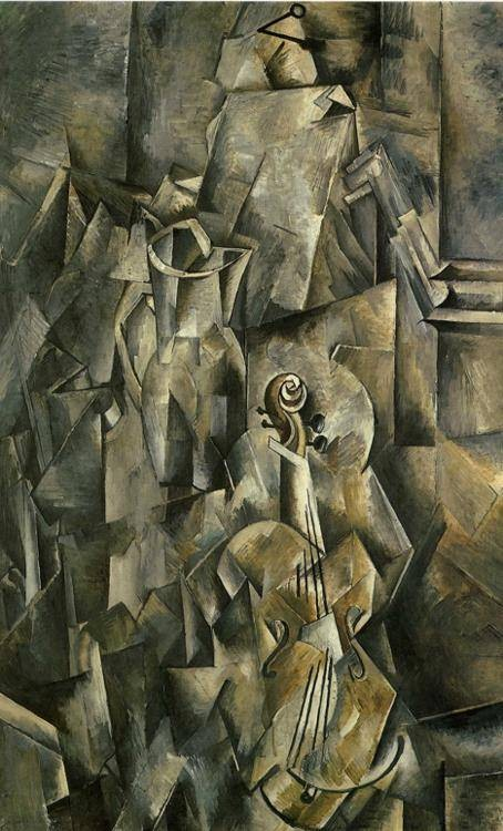 Georges Braque.Jarra y violín,1909-10.Líneas y formas geométricas en sus naturalezas muertas, con pocos tonos cromáticos y un cubismo analítico.Precursor de la abstracción de postguerra.