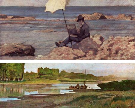 G Fattori.El Arno en Belleriva.1866.Óleo sobre lienzo.37x101cm.Bottega d ´Arte Livorno.