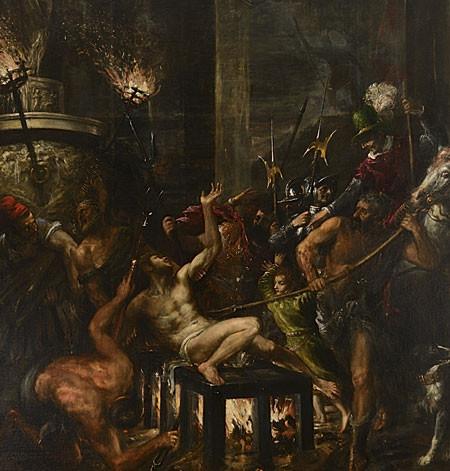 Tiziano, Martirio de San Lorenzo. Monasterio del Escorial,Iglesia vieja.