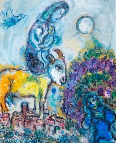 Marc Chagall 1887-1895.Maternidad con cabra dorada.Sobre la población que aparece en el horizonte Saint Paul Vence aparece flotando una enimática mujer con un niño en brazos,mientras un hombre descansa bajo un olivo.Chagall,judío ruso con alas de pintor.
