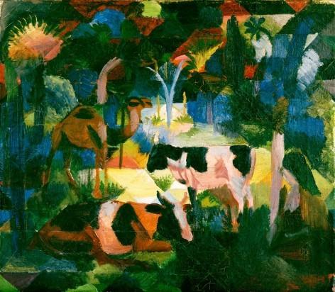 August Macke. Paisaje con vacas y camello, 1914. Óleo sobre lienzo. 47x54cm, Zúrich. El arte es una abstracción, extraígala de la naturaleza soñando ante ella y piense más en la creación que el resultado.