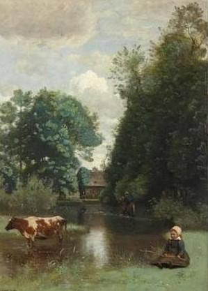 J.B.Camille Corot, Pequeña vaquera junto al agua, 1870. Óleo sobre lienzo, 43x30cm. Primer paisajista moderno concepción realista y romántica.Formato vertical e impecable sentido compositivo.