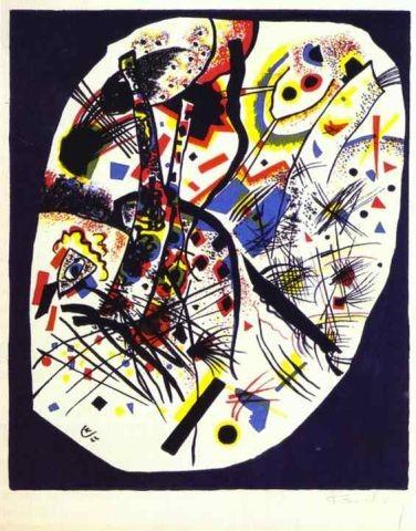 Pequeños mundos III,1922.Litografia en color 4 piedras amarillo, rojo, azul y negro. 34x28cm Legado Nina Kandinsky.
