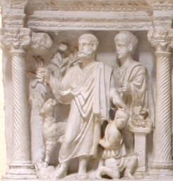 Escena del sacrificio de Isaac,Sarcófago de Junio Basso, S IV, Museos Vaticanos