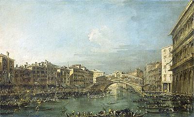 Francesco Guardi.Regata en el Gran Canal creca del Puente de Rialto en Venecia. 1780-90.Lisboa, Calauste Gulbenkian Museum. Son varias las regatas conservadas en diferentes museos.Ceremonias acuáticas con edificios emblemáticos de la ciudad.