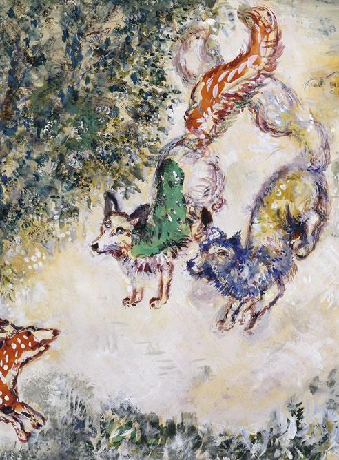 El zorro con la cola cortada (Fábulas de La Fontaine) 1927.Acuarela y guache.Collection Larock-Granoff.