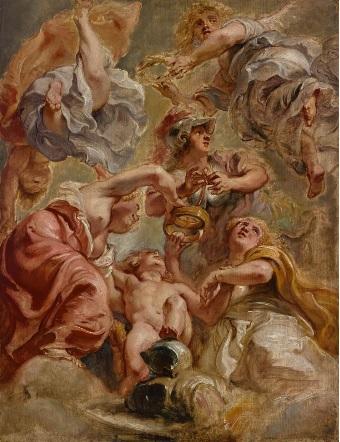 Inglaterra,Escocia,Minerva,Cupido y dos Victorias.Óleo sobre tabla.64x49cm.Róterdam,Museum Roijmans.Rubens demostró que era capaz de realizar pinturas para techos, con fuertes escorzos,la unión de las dos coronas Inglaterra y Escocia enlazadas por cupido.