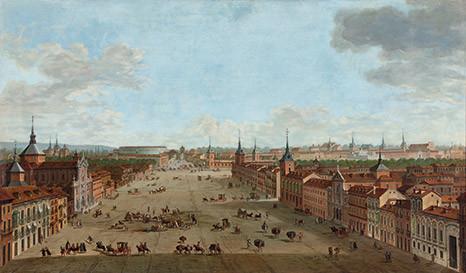A.Joli.Vista de la Calle Alcalá de Madrid. 1754. Hay 5 réplicas conocidas, acabó inaugurando este género en Madrid, escenario de acontecimientos políticos y religiosos.