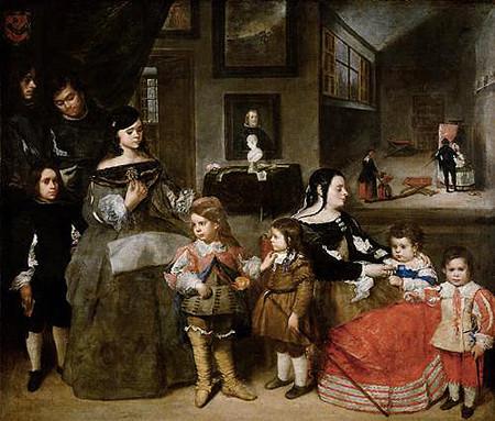 Juan Bautista Martínez del Mazo,la familia del pintor. Kunsthistorisches Museum. Viena. Este cuadro familiar, consecuencia inmediata de las Meninas, realizado por el yerno de Velázquez...un espacio lleno de referencias...4 niños son los que tuvo el autor