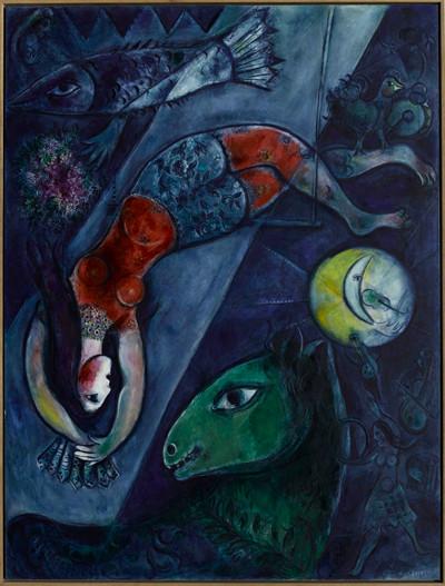 El circo azul.1950-52. Óleo sobre lienzo de lino.232x174cm.Centro Pompidou, París. Los personajes de Chagall tienen simplemente el don de volar, como los pájaros o los ángeles, son livianos como el amor y efímeros como el sueño: concepto de vuelo y caida.