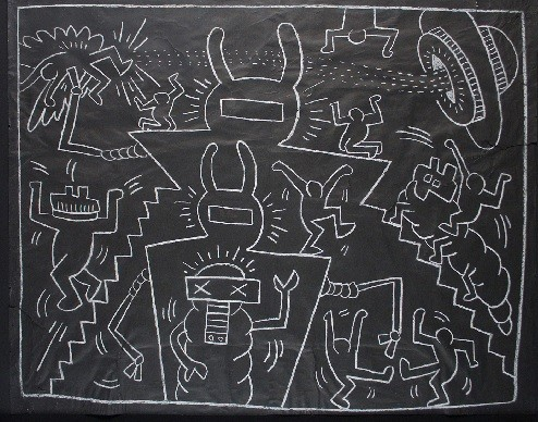 Keith Haring(1958-1990)Aprendió la cultura popular del entorno y las destrezas de la ilustración de historietas de su padre. Sin título 1985. Tiza sobre papel.116x153cm.Colección particular.