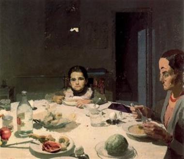 La tabla, o la cena.Momento íntimo cotidiano en el que madre e hija se encuentran en una fluida conversación.Escena doméstica de temática frecuente con gran desenvoltura a pesar de sencillez.