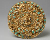 Phalera, SIII-I A.C. Turquesas engastadas, servía para adornar los arreos de los caballos.