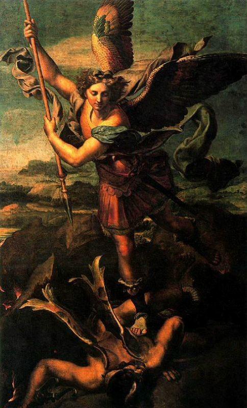 Rafael y taller , San Miguel grande,1518,óleo transferido a lienzo,268x164cm, Paris Museo del Louvre., encargada por el Papa León X para la corte francesa reforzando su relación con Francisco I, particularmente apropiado por su predecesor Luis XI, Maestre
