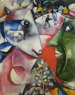 """""""Yo y la aldea""""1911.Guggenheim Fund. Nueva York.  Composición monumental que recuerdan iconos y estampas populares rusas, recuerdos de la mística del judaismo jasídico."""