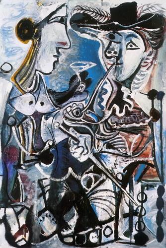 Le couple,1967,fechado en el reverso.Dos figuras de cuerpo entero ocupan primer y único plano,un hombre ataviado a la manera del Siglo de Oro sostiene una larga pipa con la izquierda agarra su espada.Una mujer con pecho descubierto le ofrece bebida.