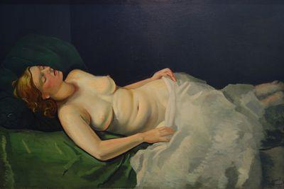 André Derain.Desnudo tumbado en el sofá verde 1934-39.Óleo sobre lienzo 98x147cm.Association des Amis du Musée du Petit Palais de Genéve,Ginebra.Todas se encuentran entre el umbral del sueño y la realidad,con su horizontalidad exhibe bellas durmientes.