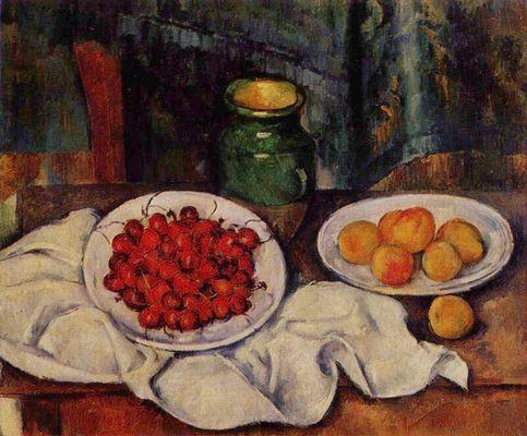 Paul Cézanne,Naturaleza muerta con cerezas y melocotones. 1885-87.Óleo sobre lienzo.50x61cm.Los Angeles Country Museum. Sabemos con qué cuidado minucioso plegaba las telas y las frutas por tamaños y colores...