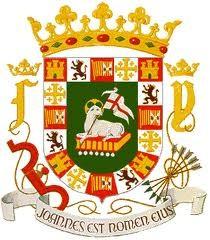 Escudo de Puerto Rico, con el Agnus Dei sobre el libro de los 7 sellos.